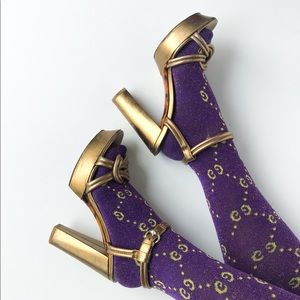 Gucci • gold knotted Orchid platform heels